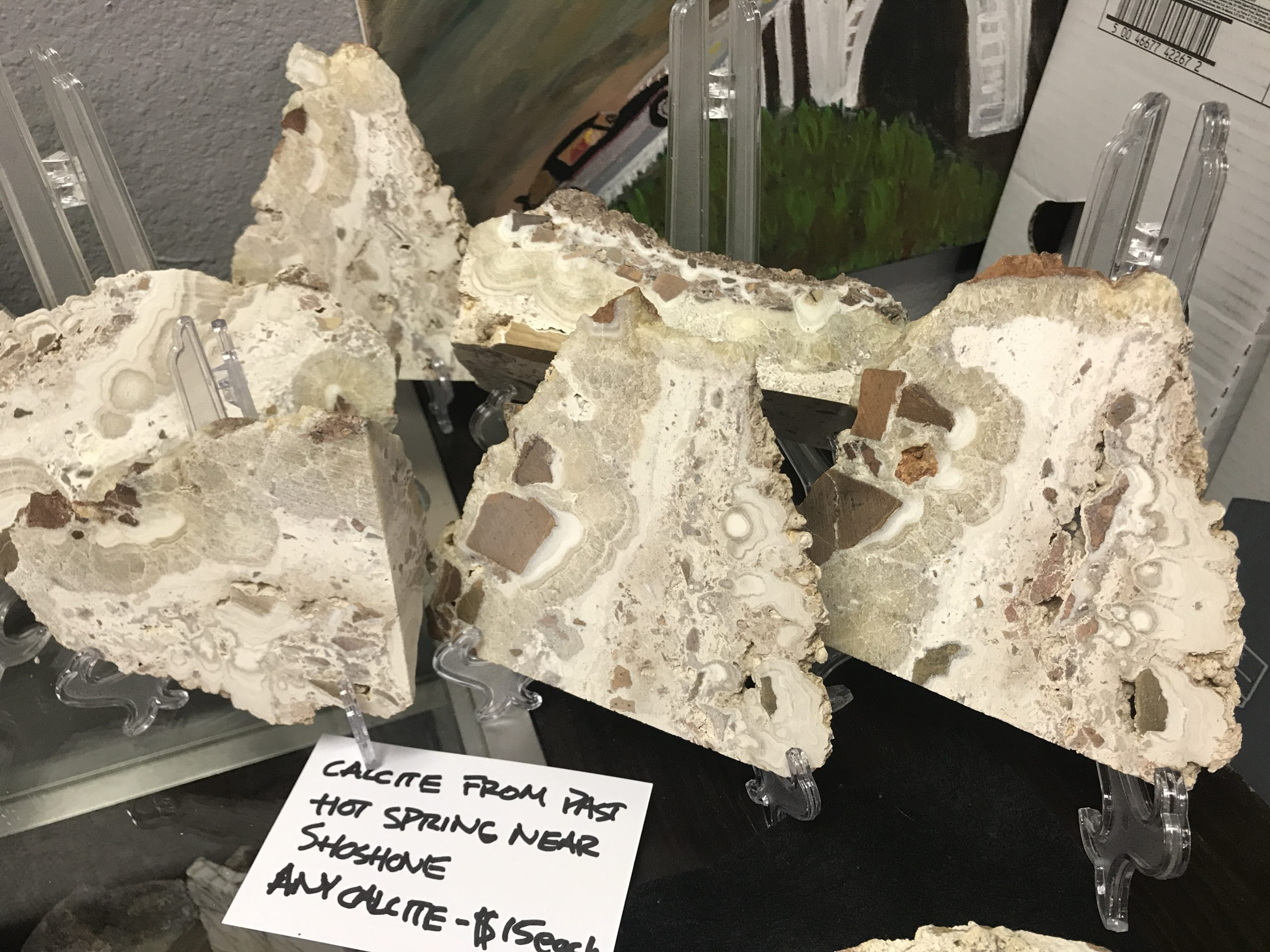 Display of calcite specimens